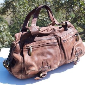 Francesco Biasia Brown Buckle Satchel